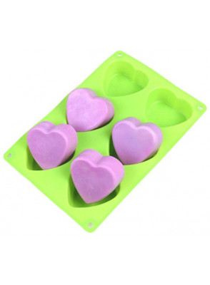 โมลด์ แม่พิมพ์สบู่ ซิลิโคน 6ช่อง รูปหัวใจ