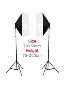 ไฟ ถ่ายภาพ Soft Box 2โคม 70x50ซม ขาตั้ง 75-200ซม.
