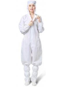 ชุดหมี คลีนรูม หมวดติด สีขาว ขนาด S