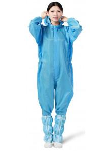 ชุดหมี คลีนรูม หมวดติด สีฟ้า ขนาด S