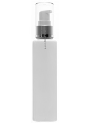 ขวดพลาสติกสีขาว ทรงเหลี่ยมสูง ฝาปั๊มขาว เกลียวเงิน ครอบใส 100ml