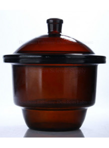 โถดูดความชื้นแก้ว Desiccator สีชา 150mm