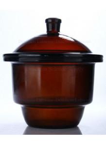 โถดูดความชื้นแก้ว Desiccator สีชา 180mm